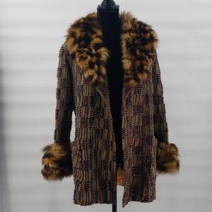 Vintage fur patchwork coat size large